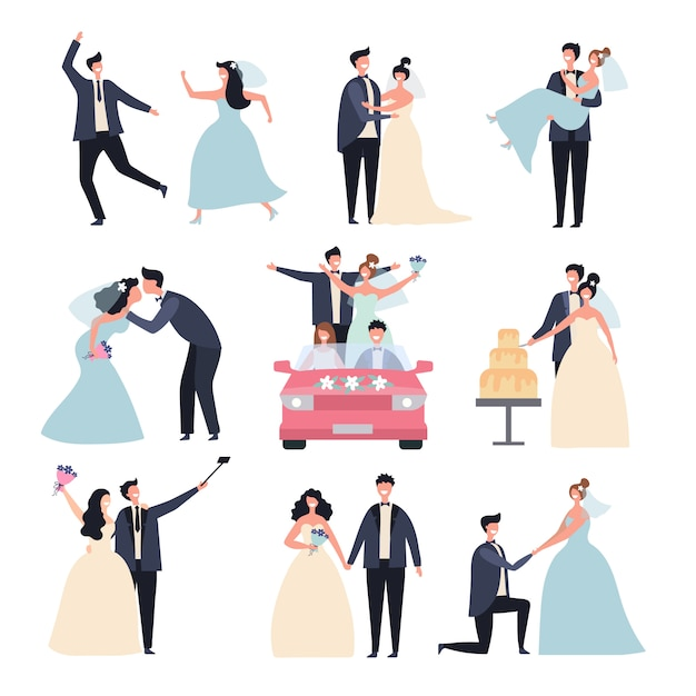 Wedding couples. bride ceremony celebration wed day love groom marriage rings  characters Premium Vector