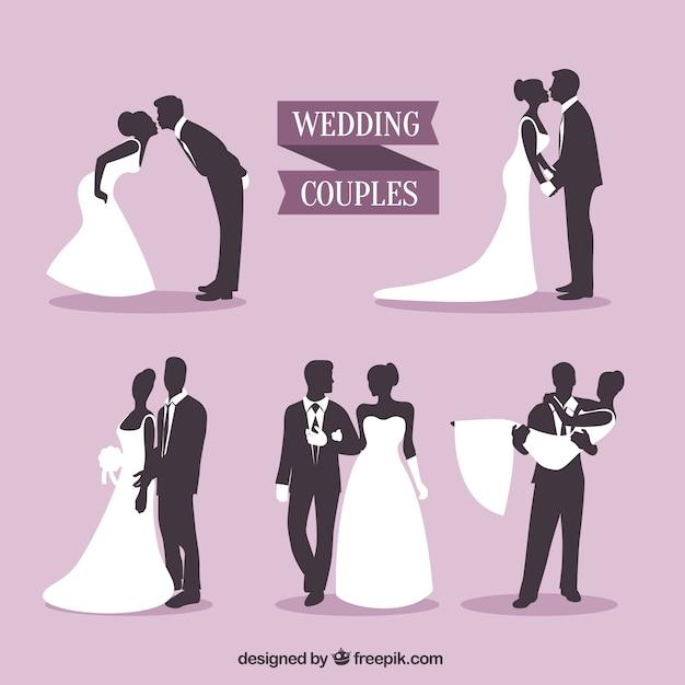 wedding couples silhouettes pack vector premium download rh freepik com free vectors wedding card free wedding vectors for commercial use