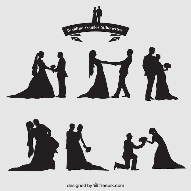 Wedding couples silhouettes set Free Vector