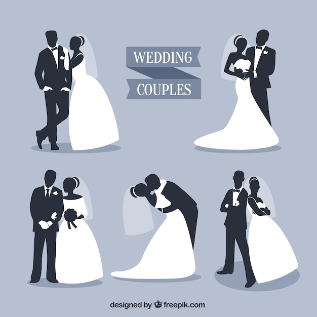 Wedding couples silhouettes set vector free download wedding couples silhouettes set free vector junglespirit Choice Image