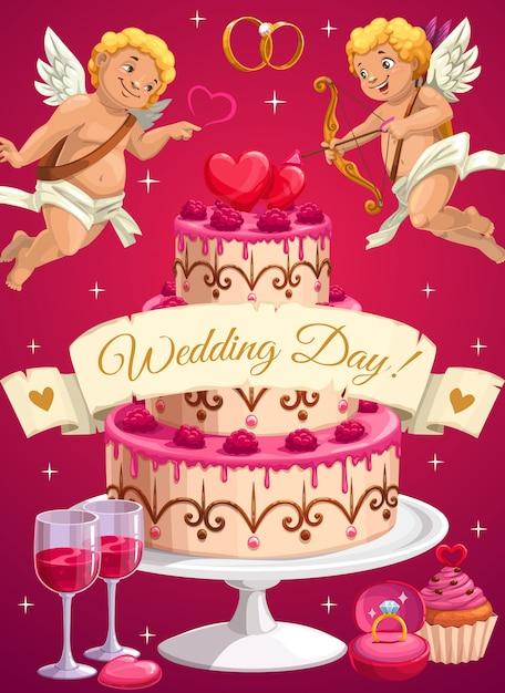 결혼식 날 케이크와 큐피드, 사랑의 마음 프리미엄 벡터