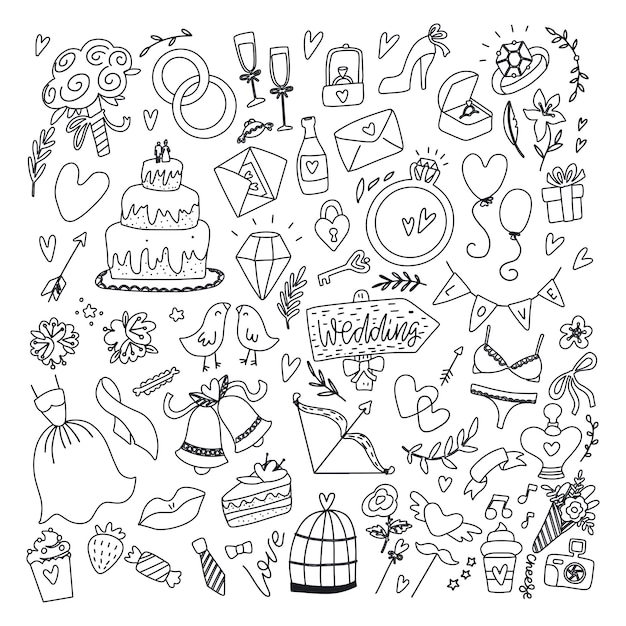 Wedding day elements. hand drawn doodle set with flowers,bride dress , shoes, glasses for champagne and festive attributes. just married collection Premium Vector