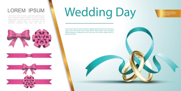 結婚式の日のお祝いの装飾の概念 無料ベクター