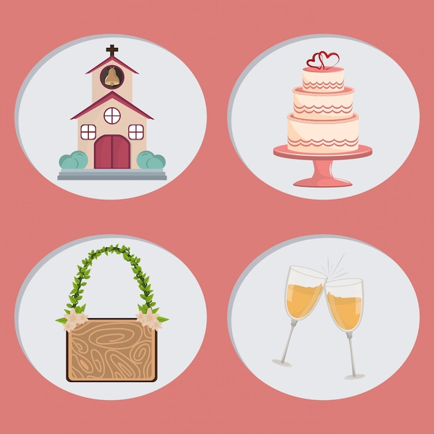 Wedding day icons cartoon Premium Vector