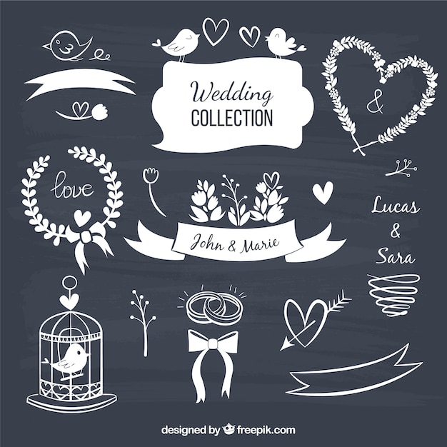 Wedding decorative elements in blackboard style vector free download wedding decorative elements in blackboard style free vector junglespirit Image collections