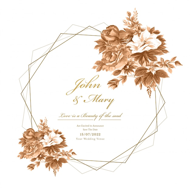 Wedding decorative flowers frame card background Free Vector