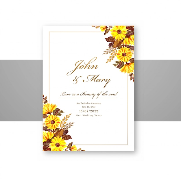 Wedding decorative flowers save the date on menu card template Free Vector