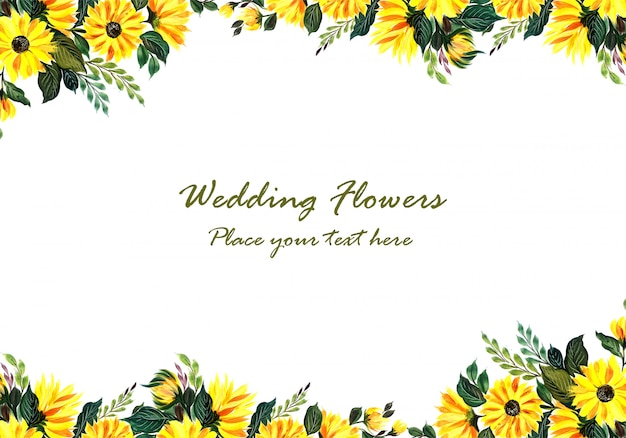 Wedding decorative yellow floral frame Free Vector