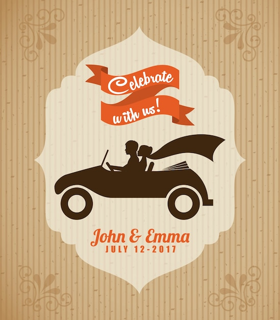 Wedding design over beige background vector illustration Premium Vector