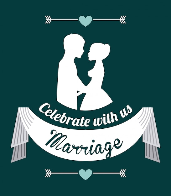 Wedding design over blue  background vector illustration Premium Vector