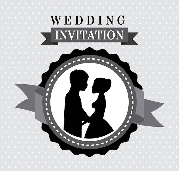 Wedding design over dotted  background vector illustration Premium Vector