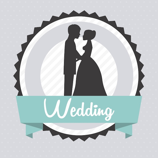 Wedding design over gray background vector illustration Premium Vector