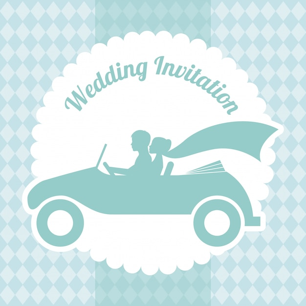 Wedding design over pattern background vector illustration Premium Vector