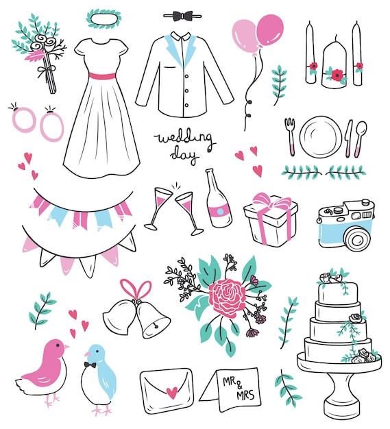 Wedding doodle set vector illustration Premium Vector
