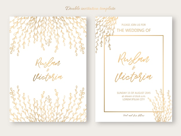 Wedding double invitation template with golden decorative elements. vector illustration Premium Vector