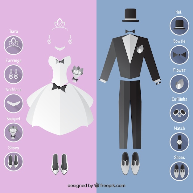 Wedding dress and suit with accessories Vector | Free Download