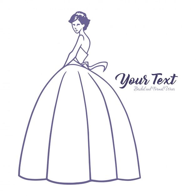 Wedding dress boutique logo template Premium Vector