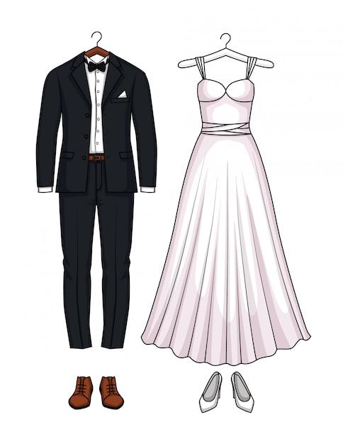Wedding dress and wedding suit set Premium Vector