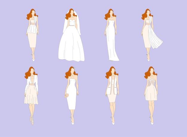 さまざまなスタイルのウェディングドレス。図。 Premiumベクター
