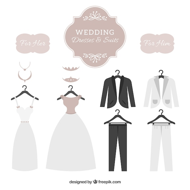 Wedding dresses & suits set Vector | Free Download