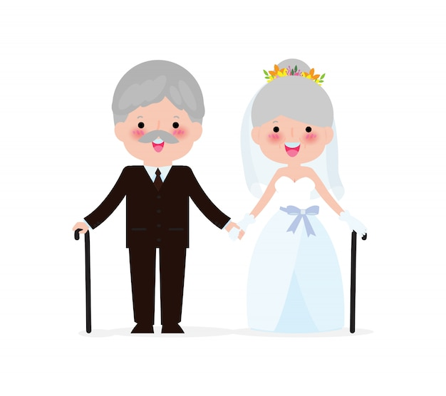 Wedding Of Elderly People Concept Senior Man And Woman In Love Cute Old Couple Valentine Day Golden Wedding Isolated On White Background Illustration Premium Vector