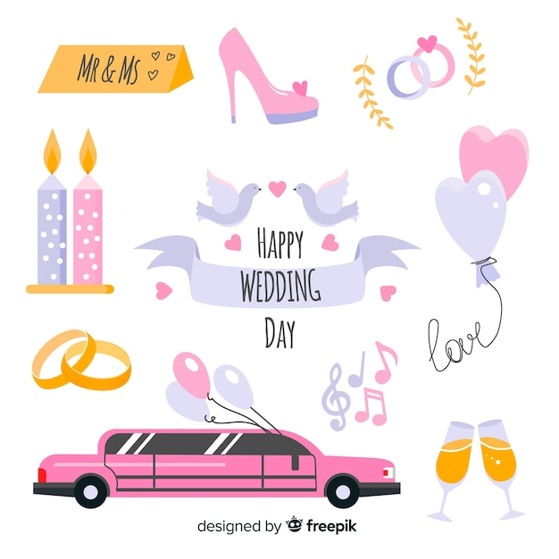 Wedding element collection Free Vector