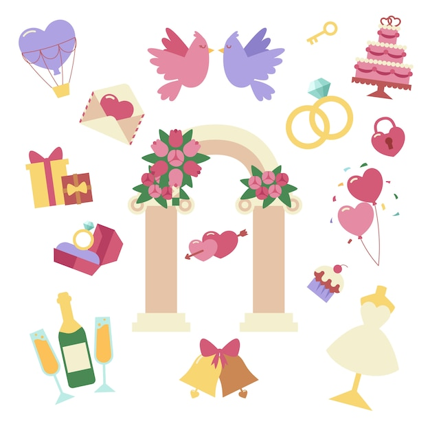 Wedding elements vector set isolated Premium Vector