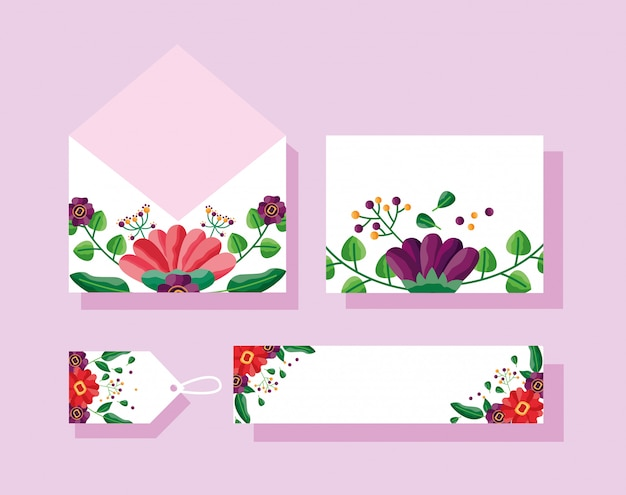 Wedding Envelope Card Tag And Label With Flowers Design