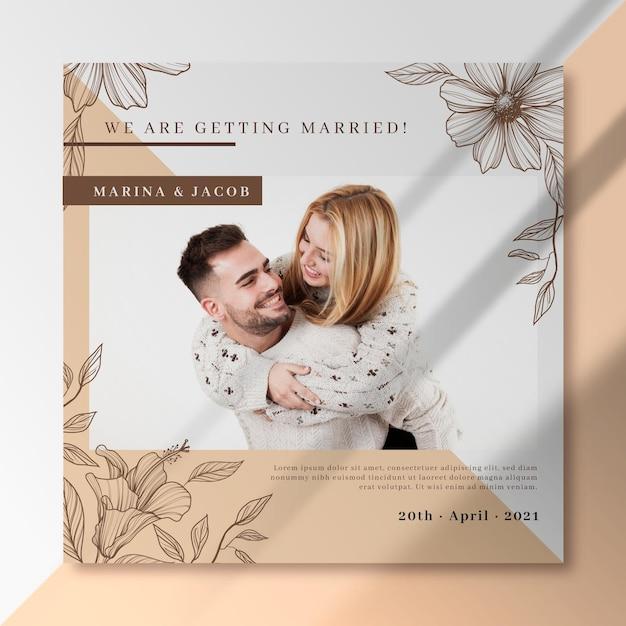 結婚式のfacebookの投稿テンプレート 無料ベクター