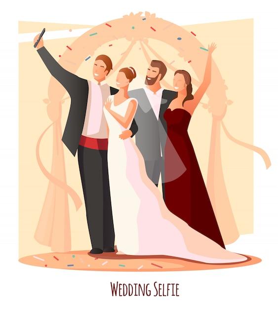 Wedding festive selfie composition Free Vector