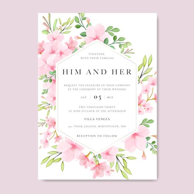 Wedding floral cherry blossom frame Premium Vector
