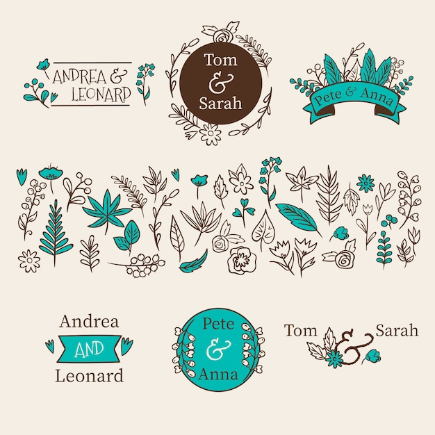 Wedding floral decorations Free Vector