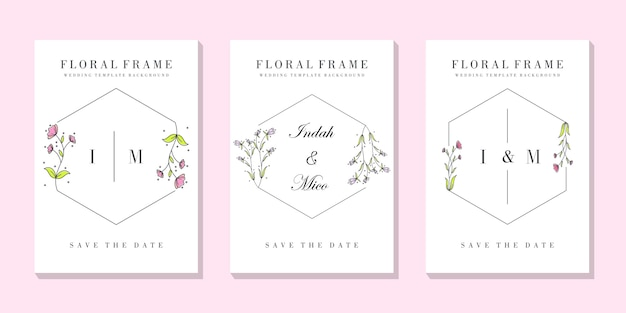 Wedding floral frame card template Premium Vector