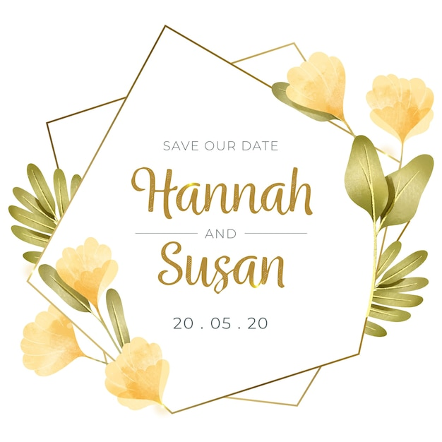 Wedding floral frame concept Free Vector