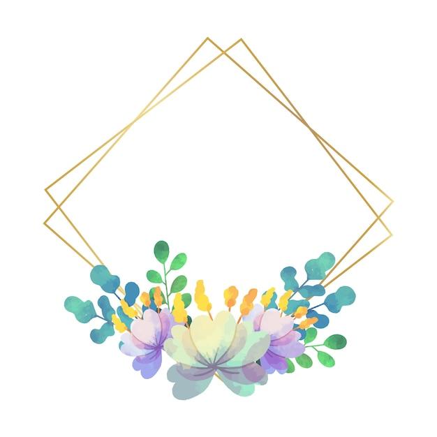 웨딩 꽃 프레임 기하학적 스타일 프리미엄 벡터