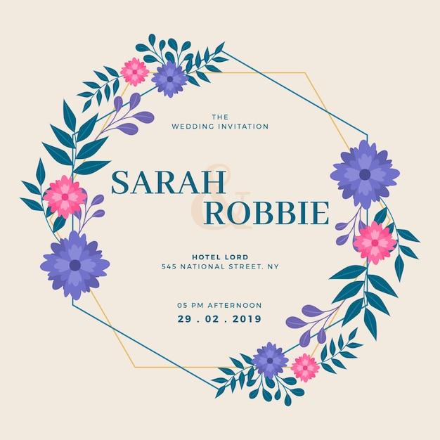 Concetto floreale della carta dell'invito della struttura di nozze Vettore gratuito