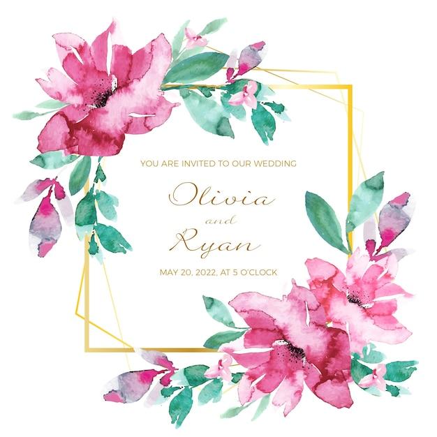 Carta di invito cornice floreale di nozze Vettore gratuito