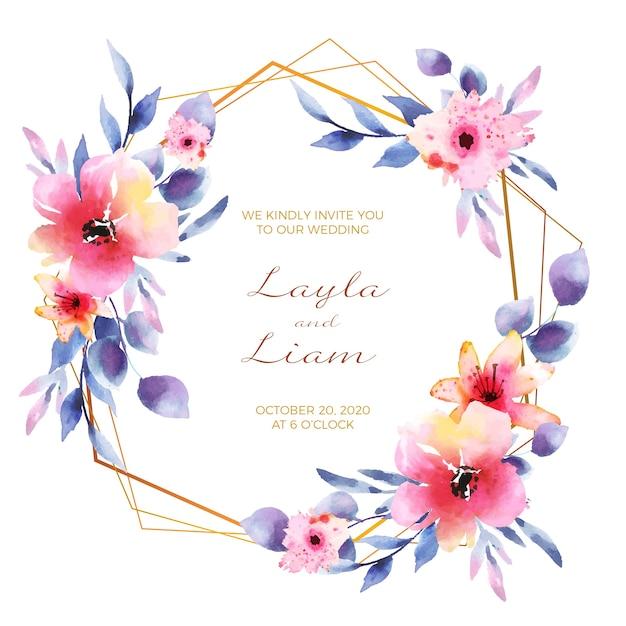Wedding floral frame invitation card Free Vector