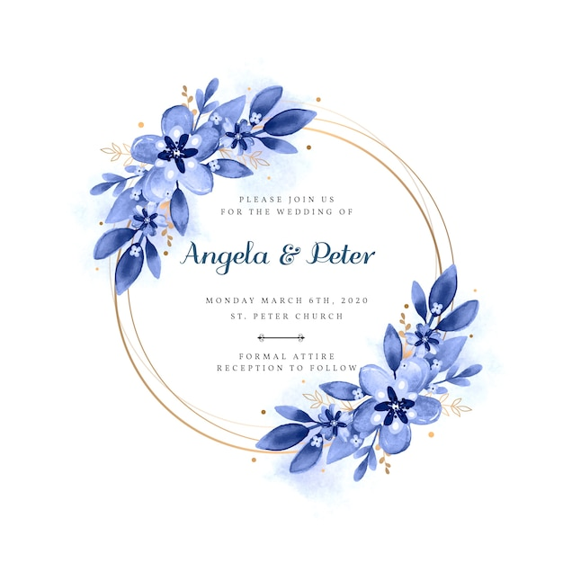 Wedding floral frame invitation Free Vector