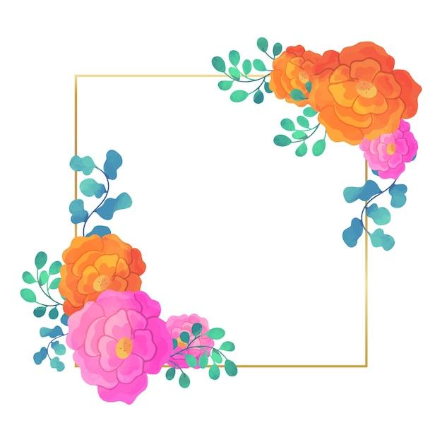 웨딩 꽃 프레임 제곱 디자인 무료 벡터