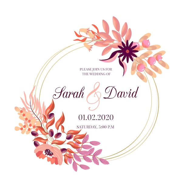 Wedding floral frame theme Free Vector