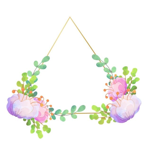 웨딩 꽃 프레임 삼각형 디자인 무료 벡터