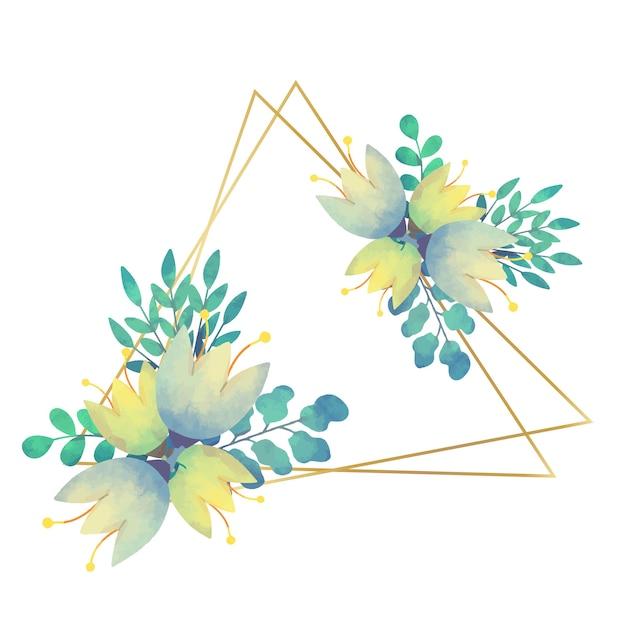 웨딩 꽃 프레임 삼각 스타일 무료 벡터