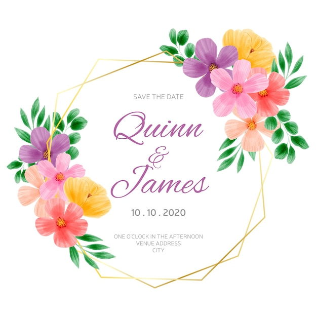 Wedding floral frame Free Vector