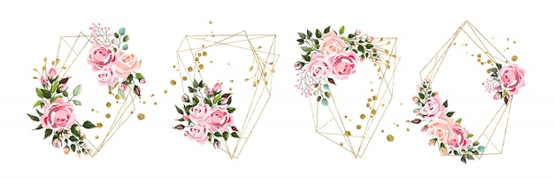 Wedding floral golden geometric triangular frame with pink flowers roses and green leaves isolated Free Vector
