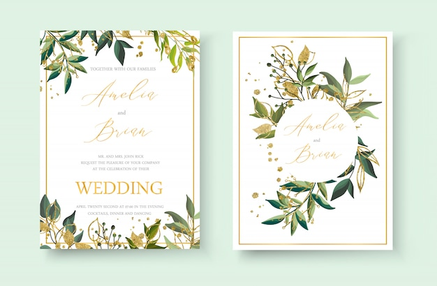 Wedding floral golden invitation card envelope save the date minimalism design with green tropical leaf herbs and gold splatters. botanical elegant decorative vector template watercolor style Free Vector