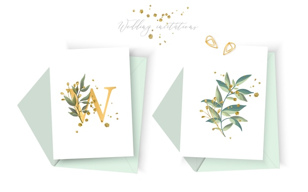 Свадебный цветочный золотой пригласительный конверт сохраняет минималистичный дизайн с зелеными тропическими листьями и золотыми брызгами. ботанический элегантный декоративный вектор шаблон акварель стиль Бесплатные векторы