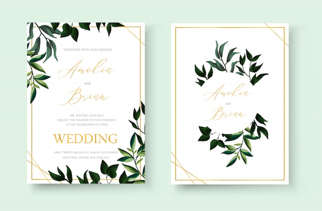 Wedding floral golden invitation card save the date design