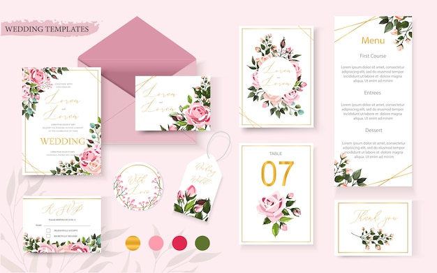 Wedding floral golden invitation card save the date rsvp table menu design with pink flowers roses and green leaves wreath and frame. botanical elegant decorative vector template in watercolor style Free Vector