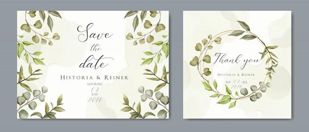 結婚式の花の黄金の招待カード&緑の植物の葉で日付のミニマリズムデザインを保存 Premiumベクター